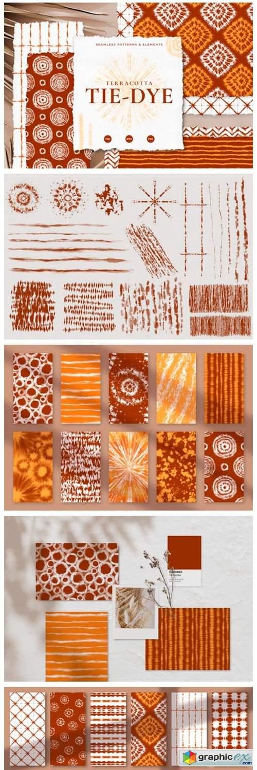 Seamless Terracotta Tie-Dye Patterns
