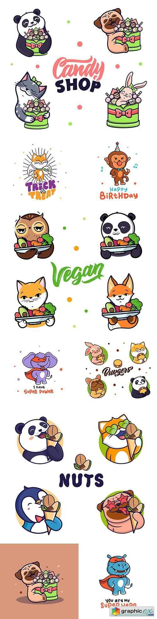 Animal cute cartoon emblem and logos design