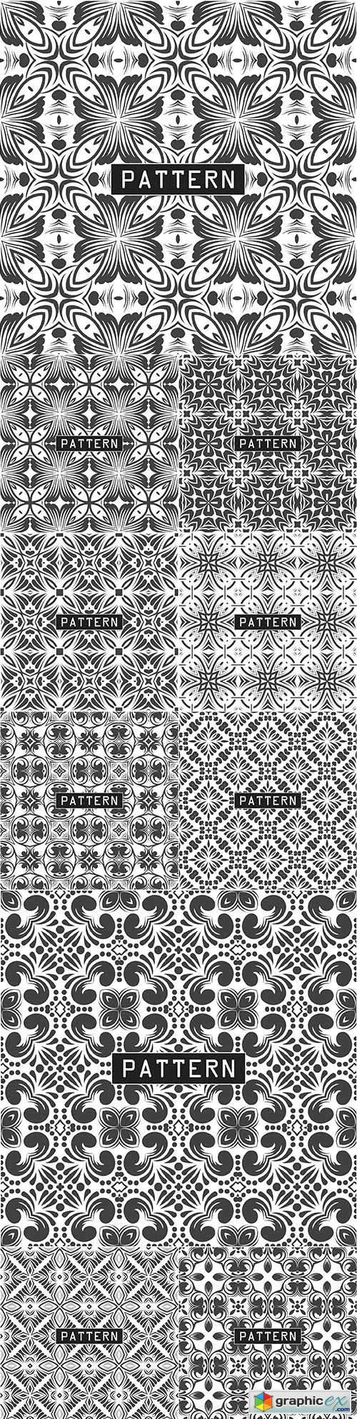 Decorative black and white seamless design pattern