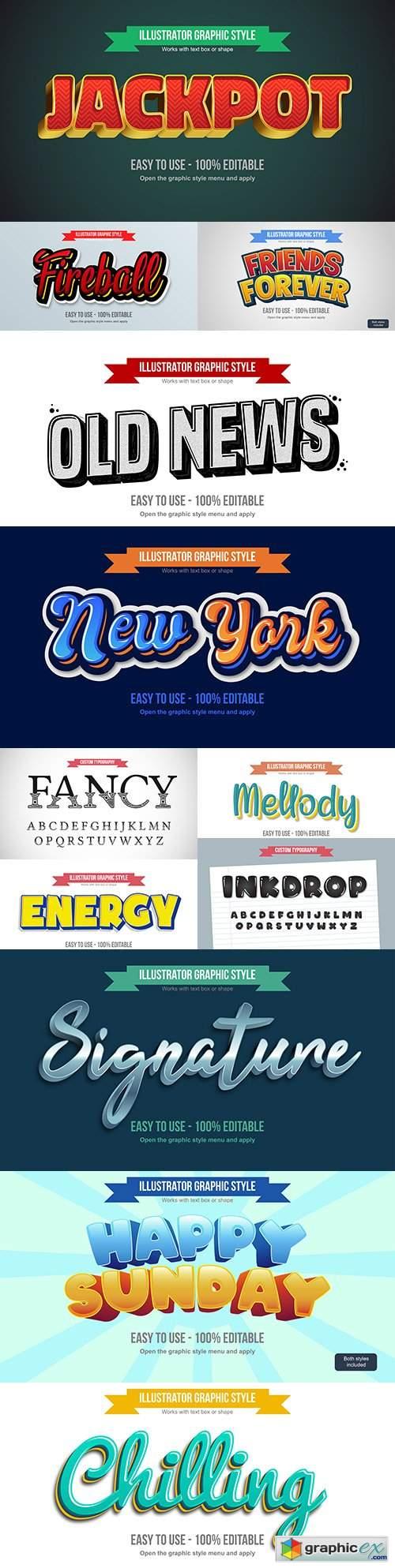 Editable font effect text collection illustration design 163