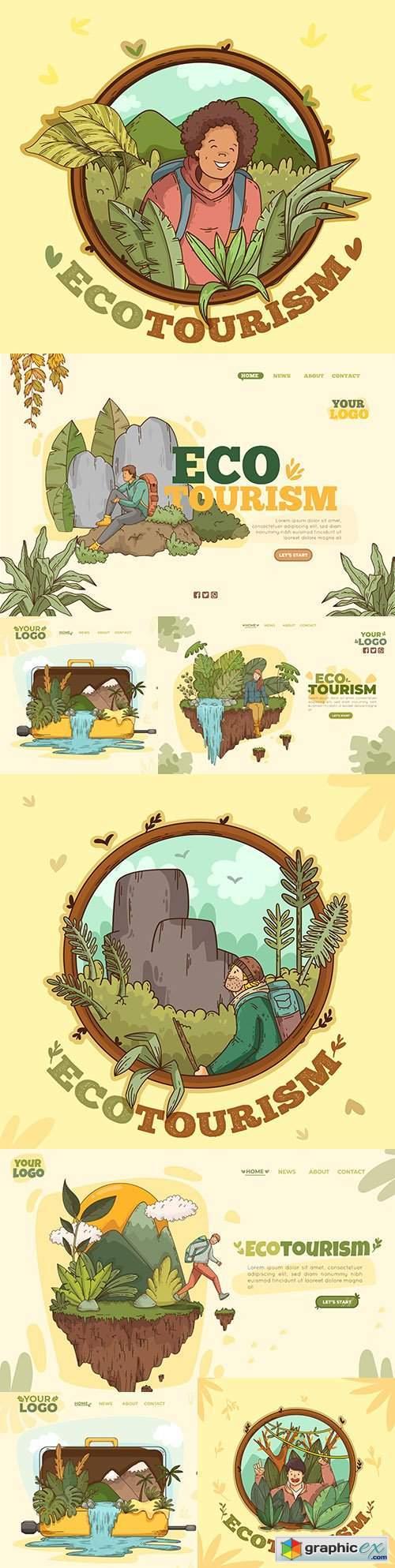 Eco tourism template landing page design