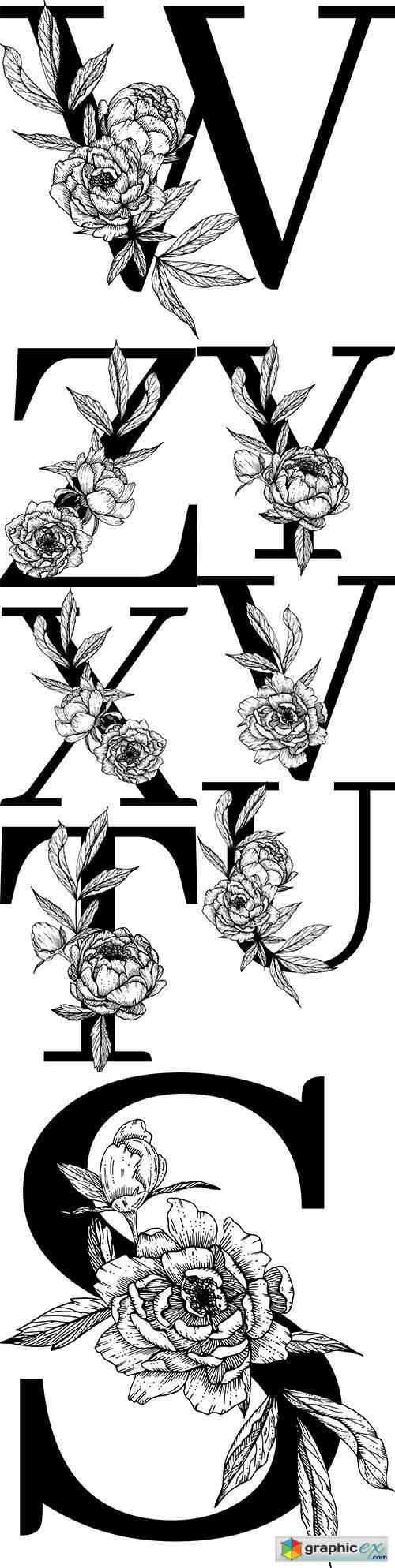 Capital letter floral decorative botanical alphabet 2