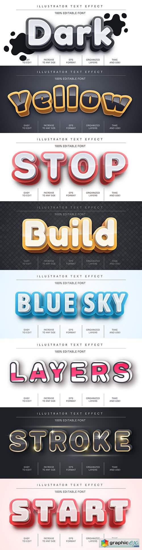 Editable font effect text collection illustration design 162