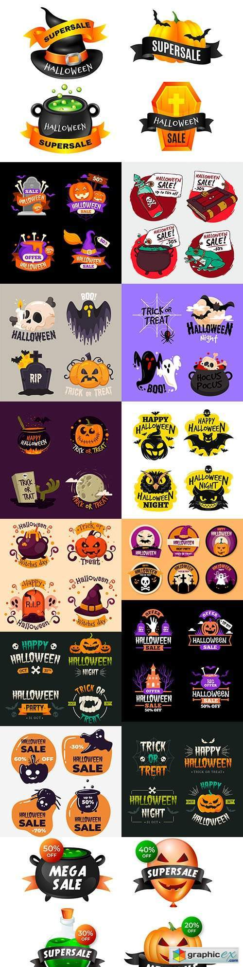 Halloween sale label and badge set collection design
