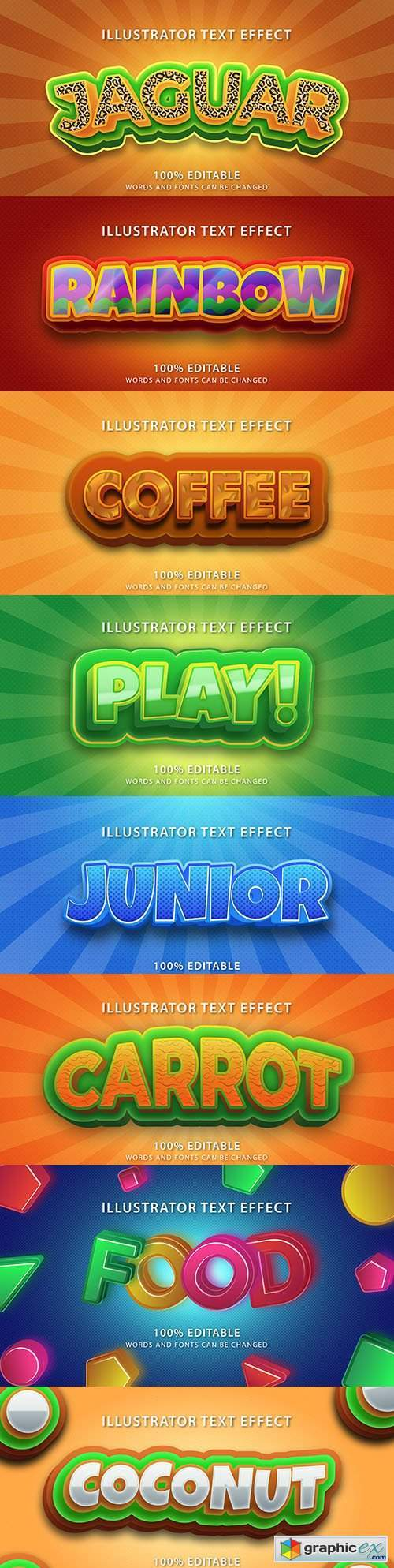 Editable font effect text collection illustration design 160
