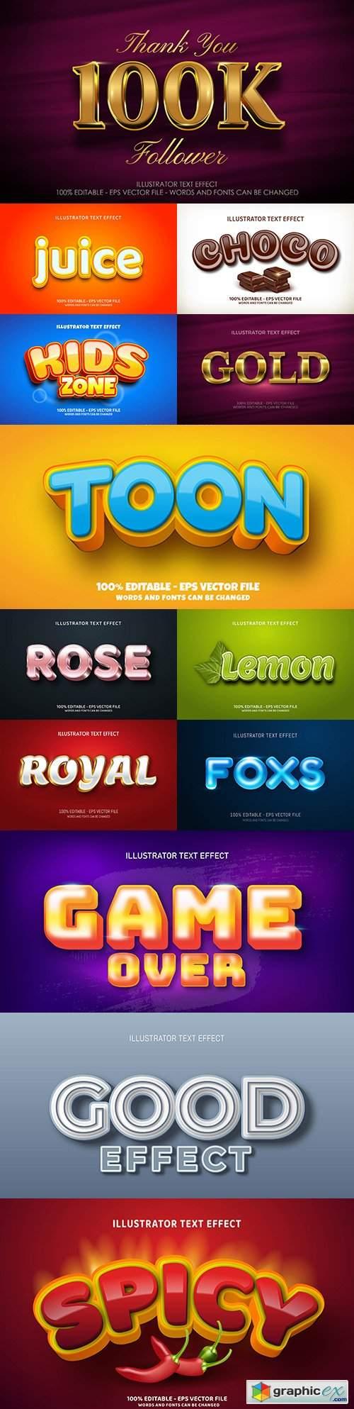 Editable font effect text collection illustration design 159