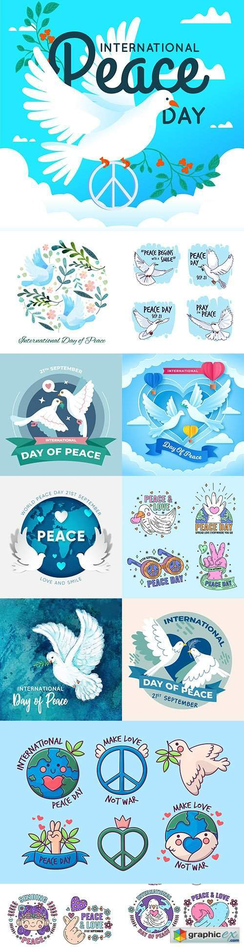 International Day of Peace with Pigeons and Hearts