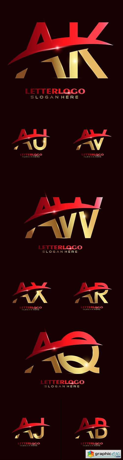 Initial letter and Brand name company logos design