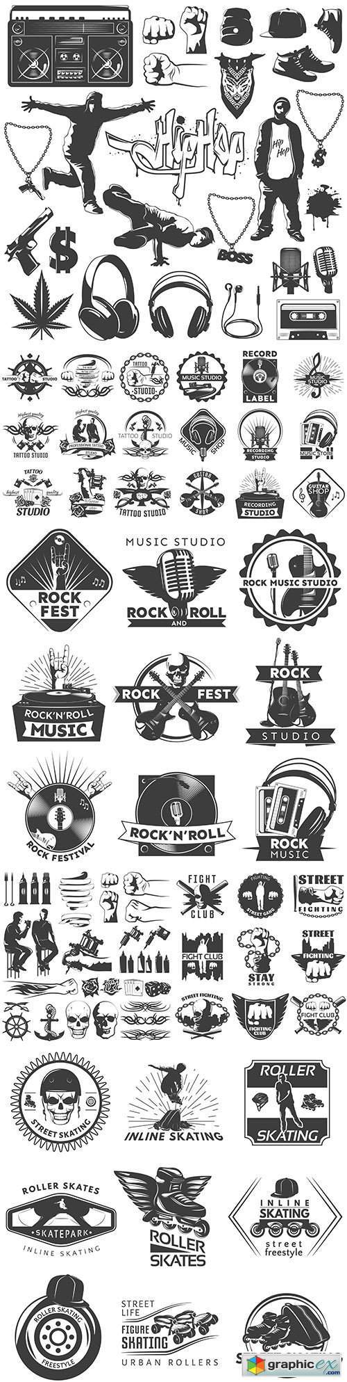 Vintage antique emblems and logos with text design 7
