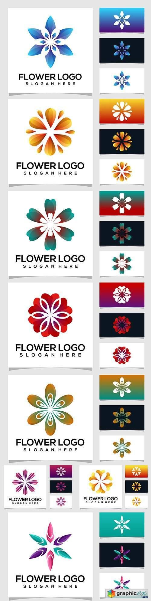 Flower logo color design for business card