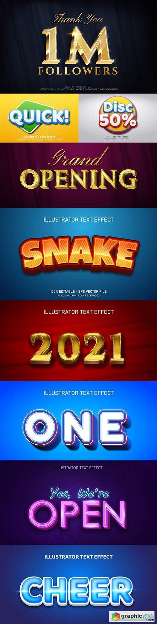 Editable font effect text collection illustration design 171