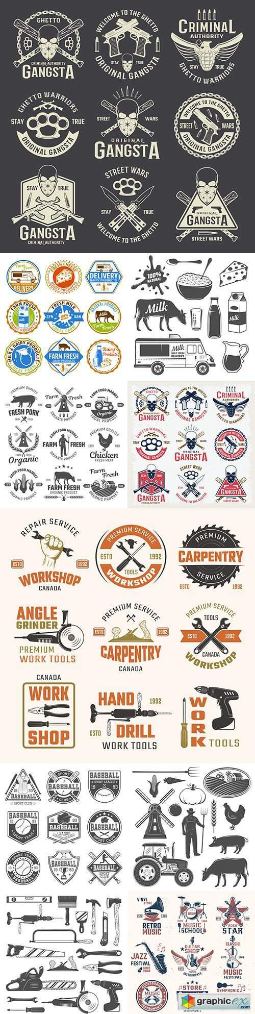 Vintage antique emblems and logos with text design 4