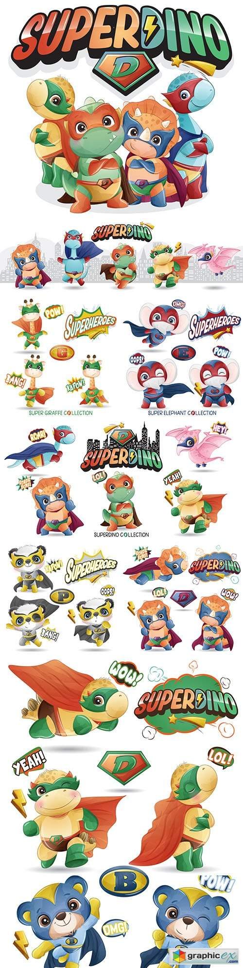 Super dinosaur and other heroes funny cartoon illustration
