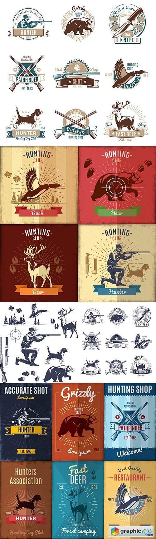 Hunting wild animals and birds design emblem and logo club vintage