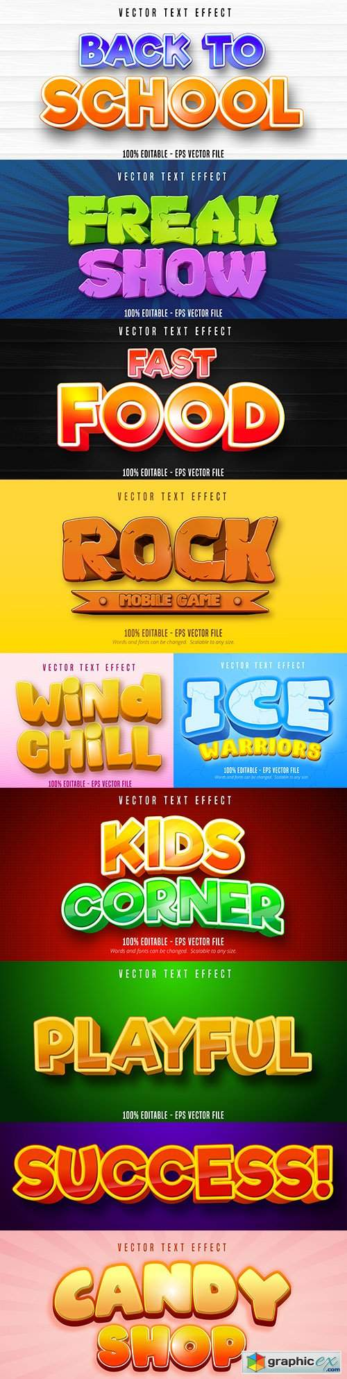 Editable font effect text collection illustration design 169