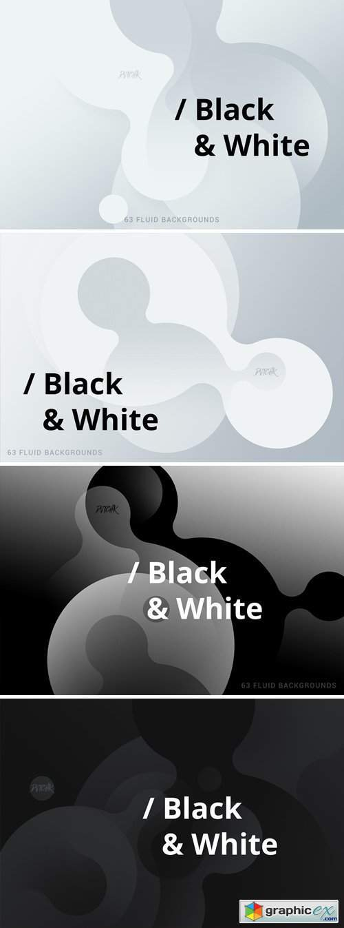 Black & White | Soft Fluid Backgrounds
