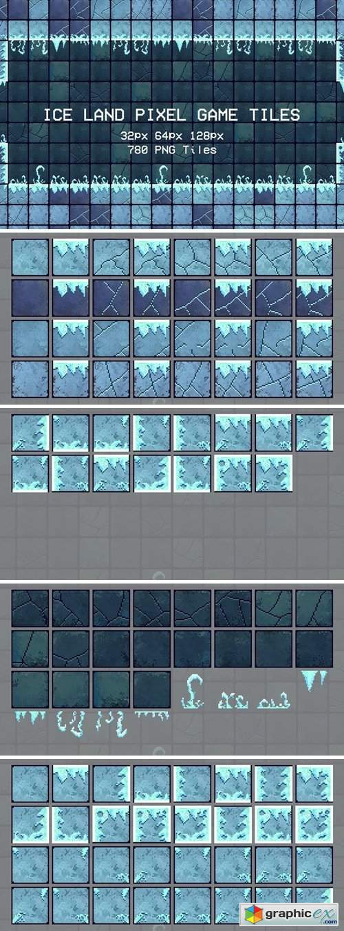 Ice Land Pixel Game Tiles