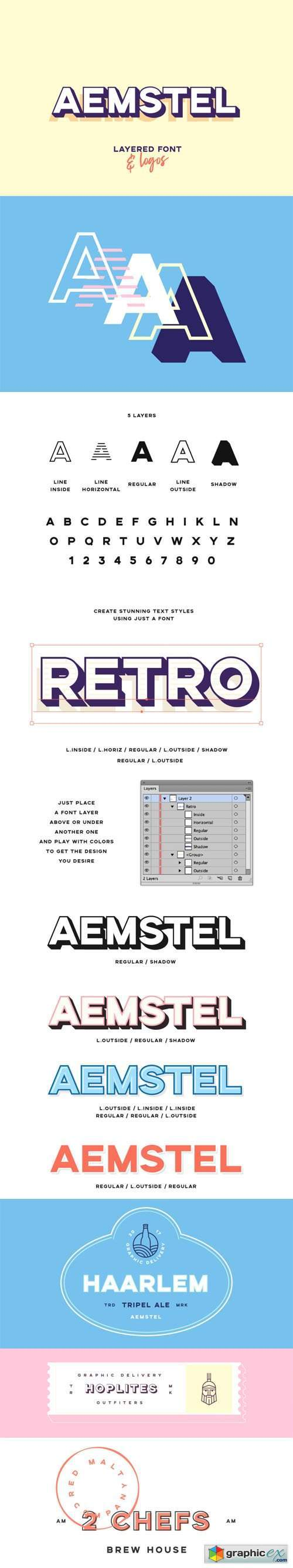 Aemstel Layered Font [5-Weights] + Vector Logos