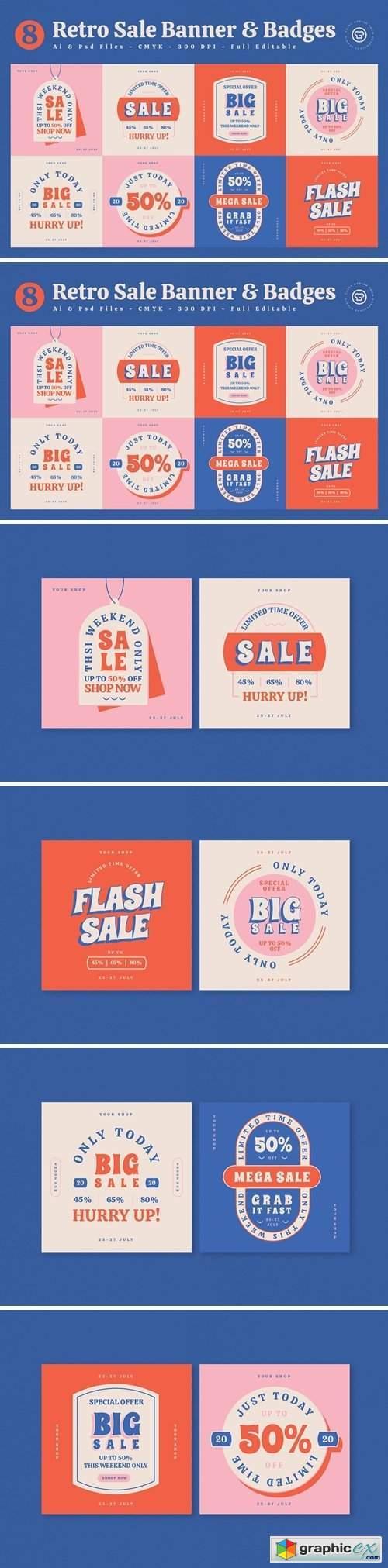 Retro Sale Banner & Badges