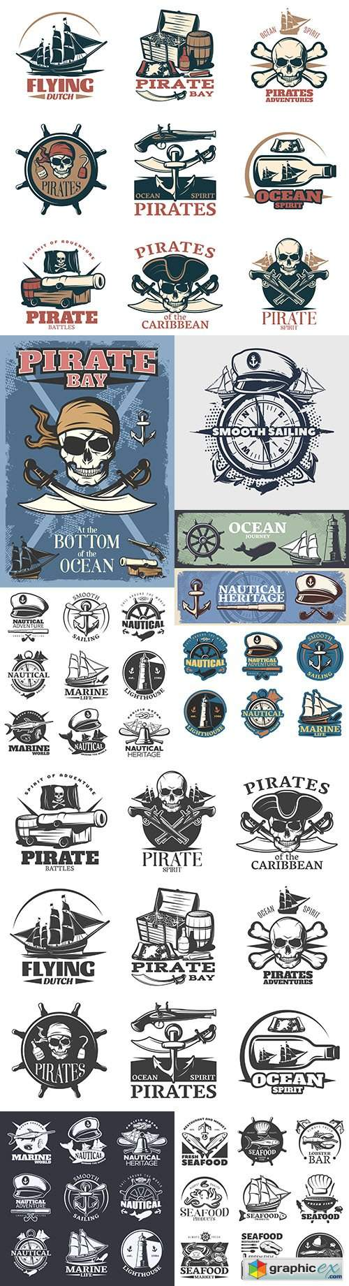 Vintage antique emblems and logos with text design 11