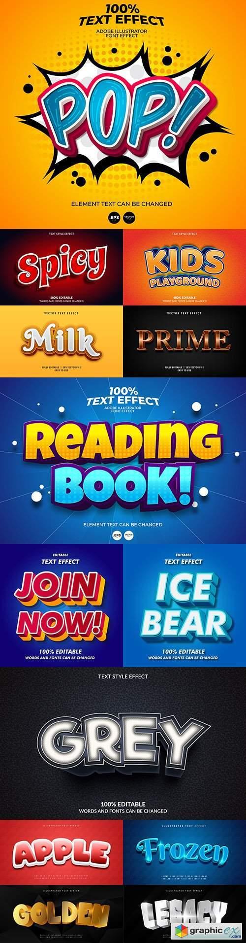 Editable font effect text collection illustration design 177