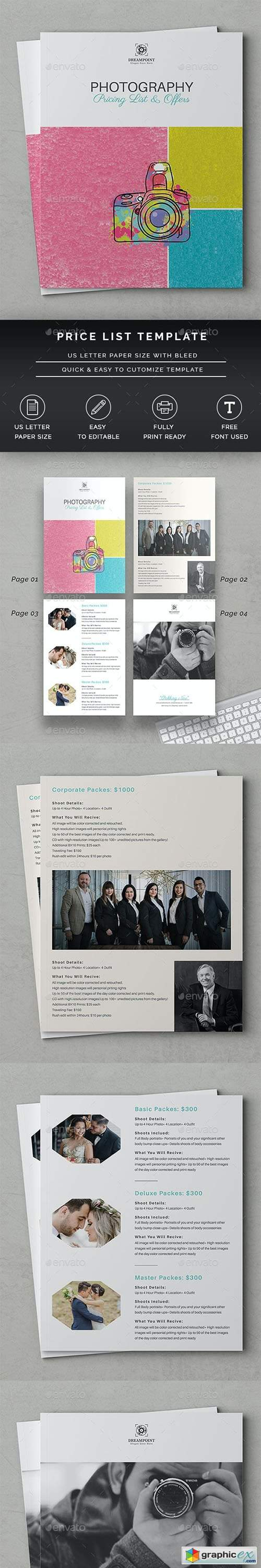 Photography Price List Template 26680958
