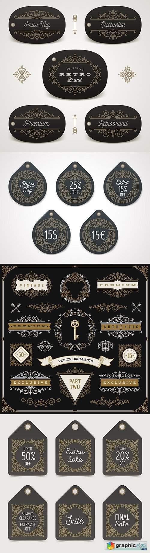 Vintage monogram brand name ornament design illustration 3