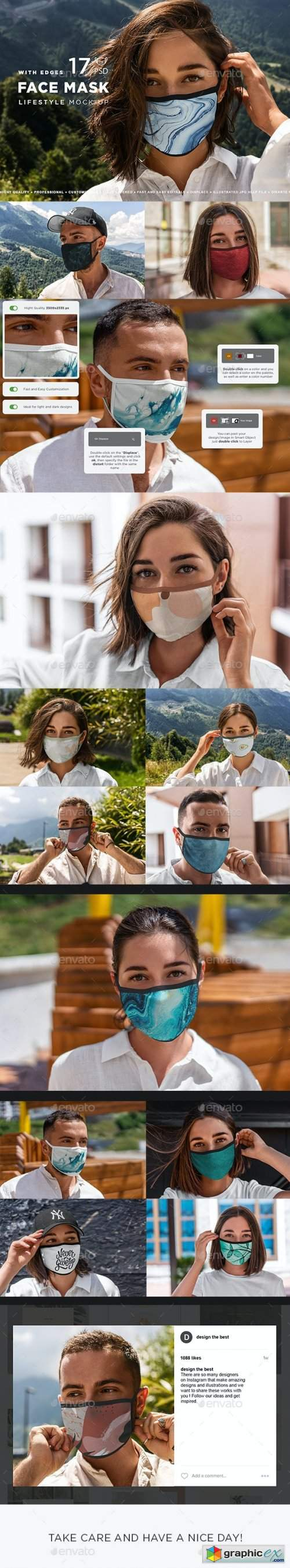 Face Mask Mockup Edges Model