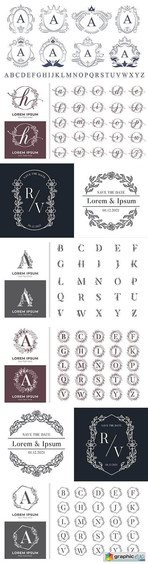 Decorative luxury monogram alphabet with floral frames