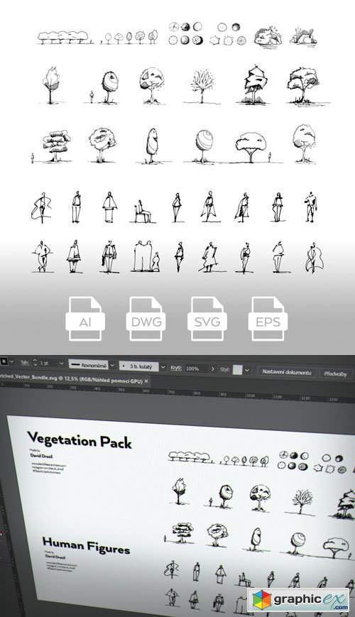 Hand-Sketched Vector Pack - Vegetation & Human Figures (+AutoCAD drawing DWG)