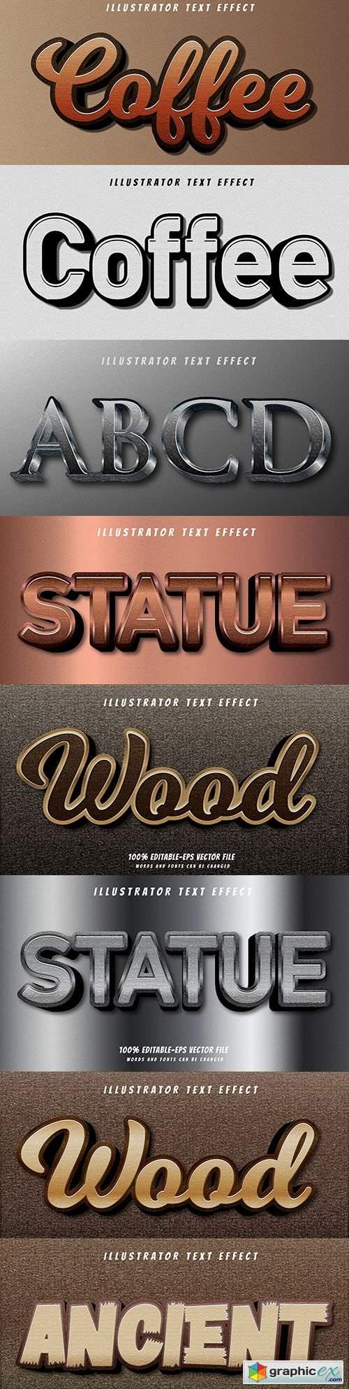 Editable font effect text collection illustration design 188