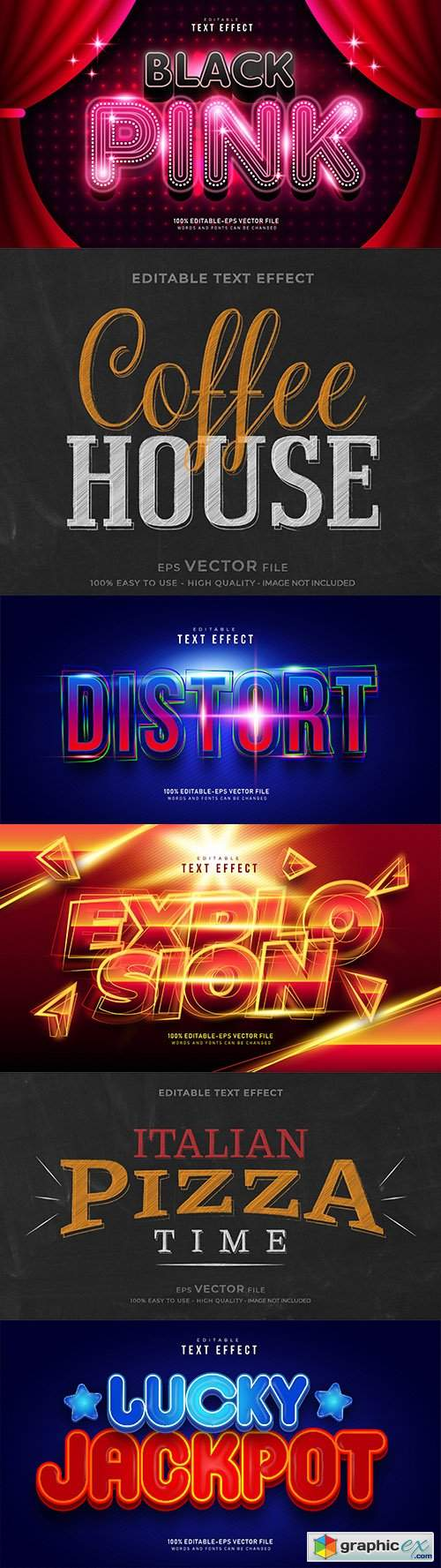 Editable font effect text collection illustration design 187