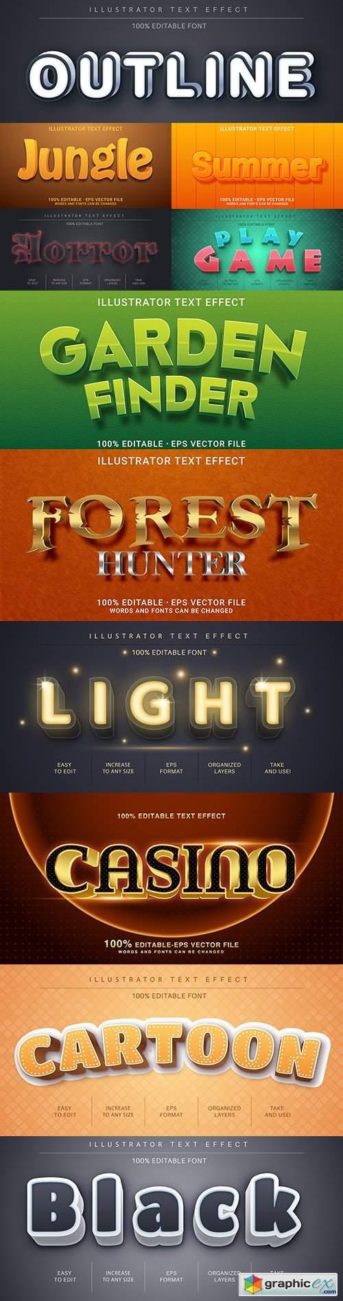 Editable font effect text collection illustration design 185