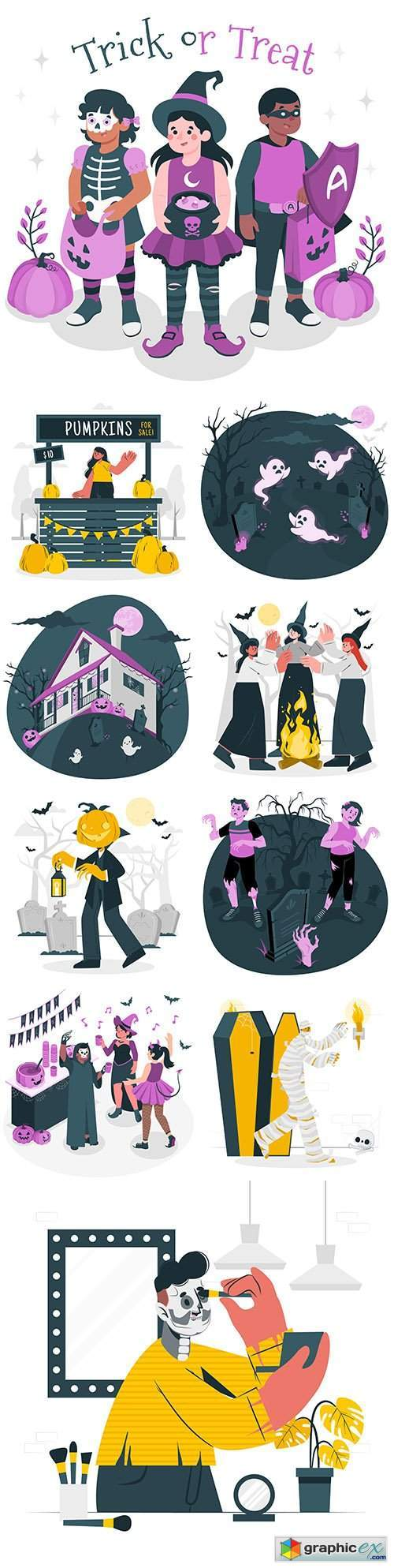 Happy Halloween holiday illustration collection 8