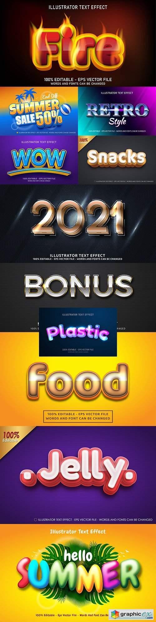 Editable font effect text collection illustration design 184