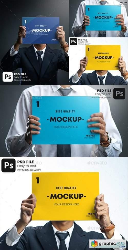 Businessman Holding Poster Mockup Set