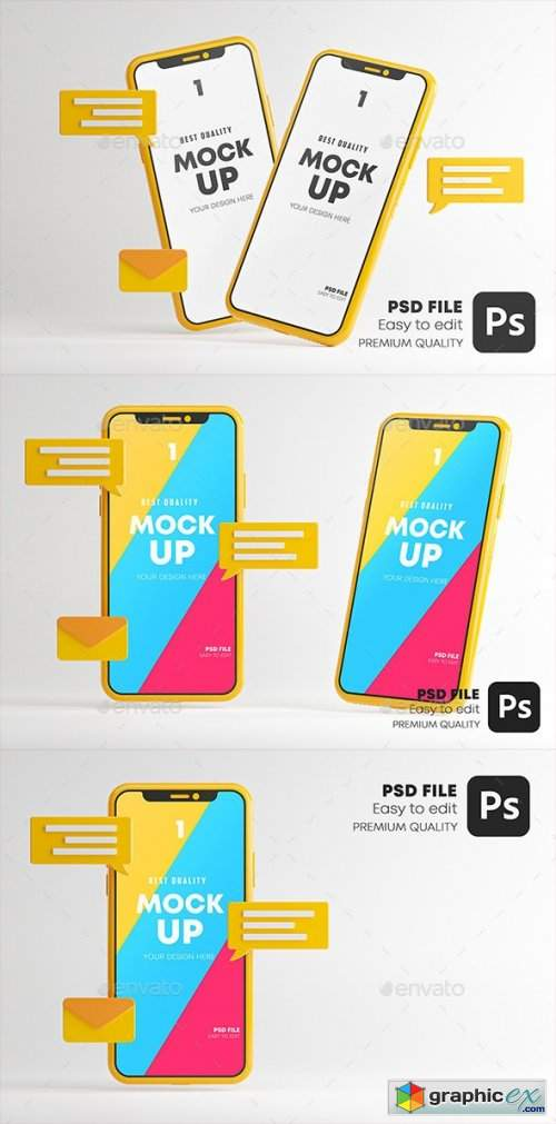 Messaging Conversation App Smartphone Mockup Set