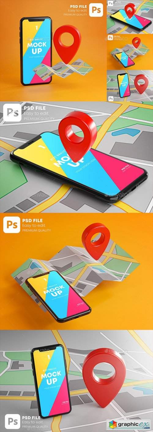 Smartphone Red GPS Pin Point On Map Mockup Pack