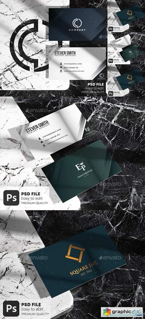 Business Card on Marble Stone Mockup Set
