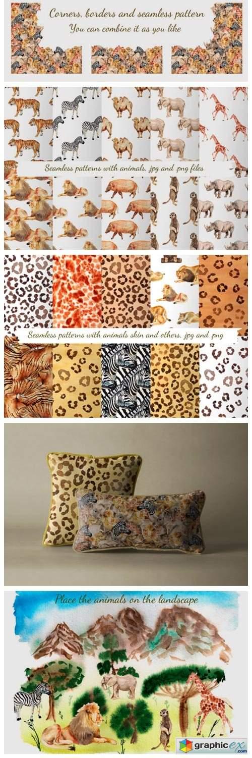 Watercolor African Animals