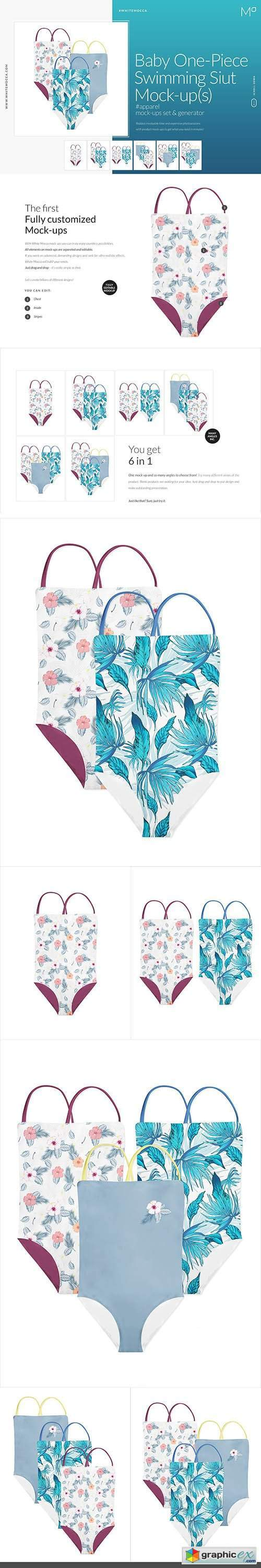 Baby One-Piece Swimming Suit Mock-up