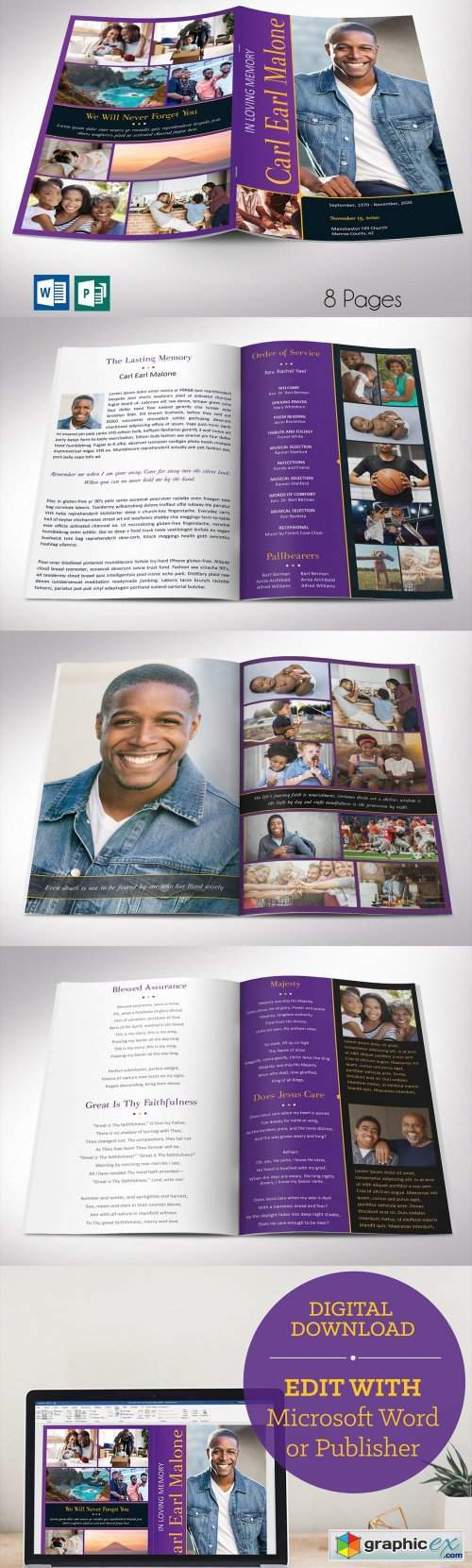 Purple Gold Funeral Program Word 8pg