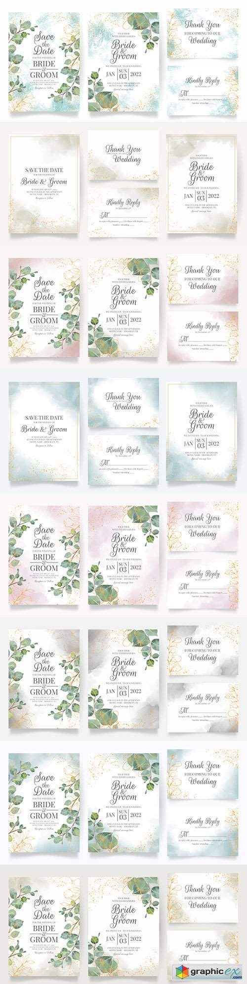 Beautiful floral frame wedding invitation template