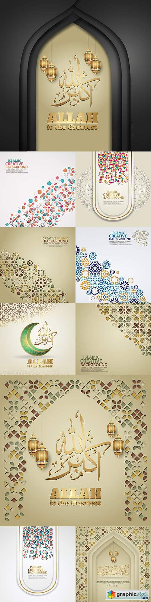 Elegant Islamic creative background with decorative colourful mosaic