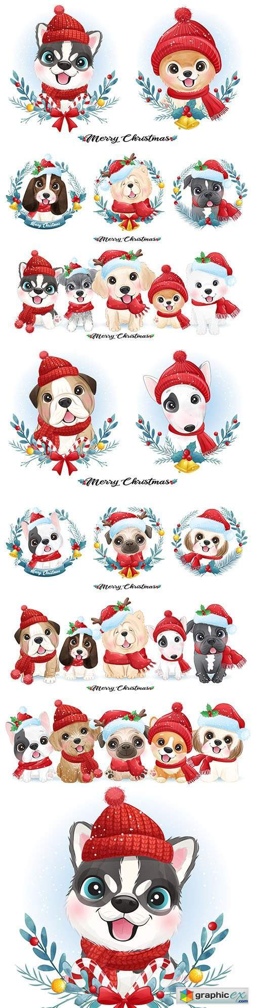 Cute puppy Christmas with watercolor illustration