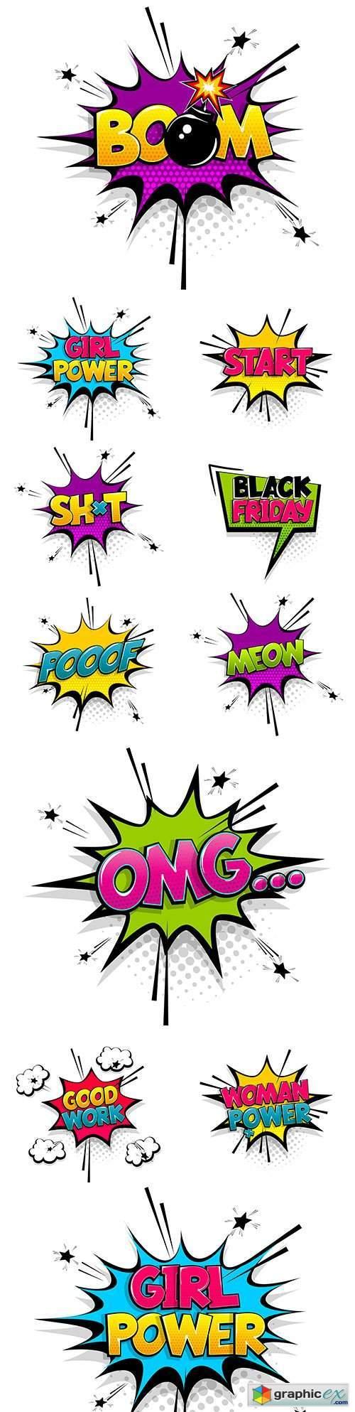Comic text cartoon bubble pop art font halftone vintage