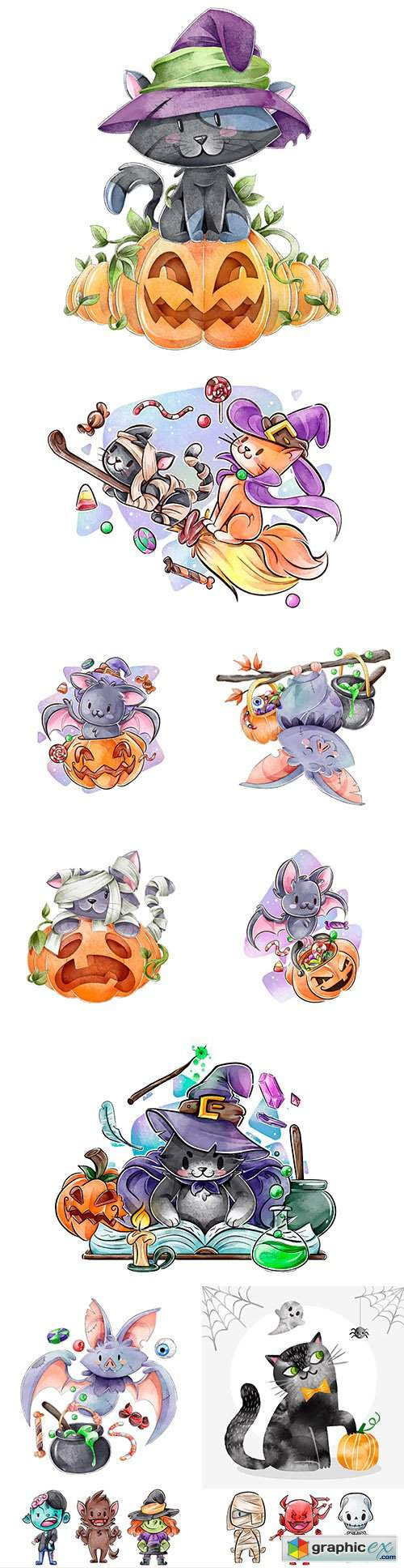 Happy Halloween holiday collection watercolor illustrations
