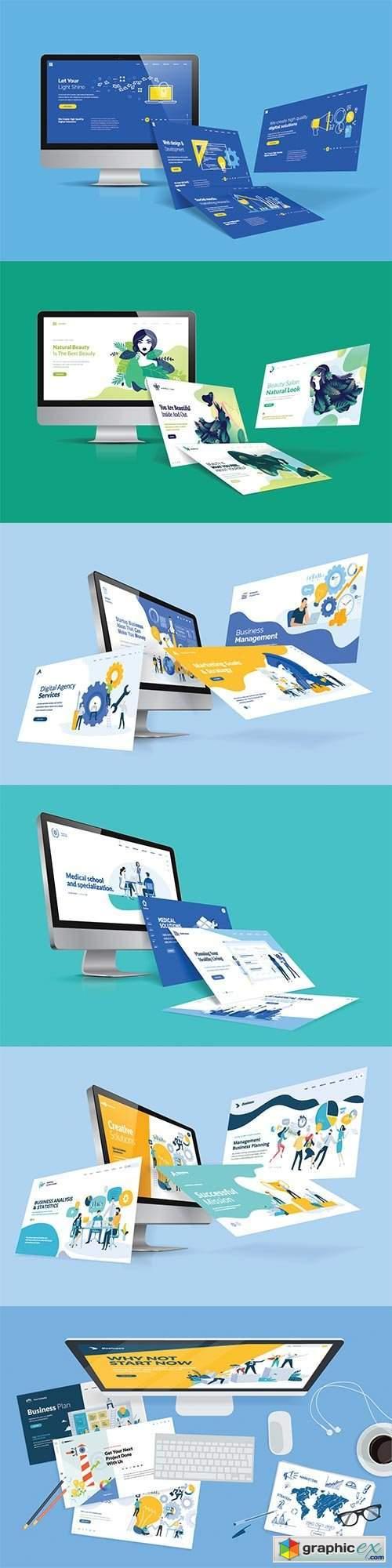 Creative workspace concept, top view, flat design vector