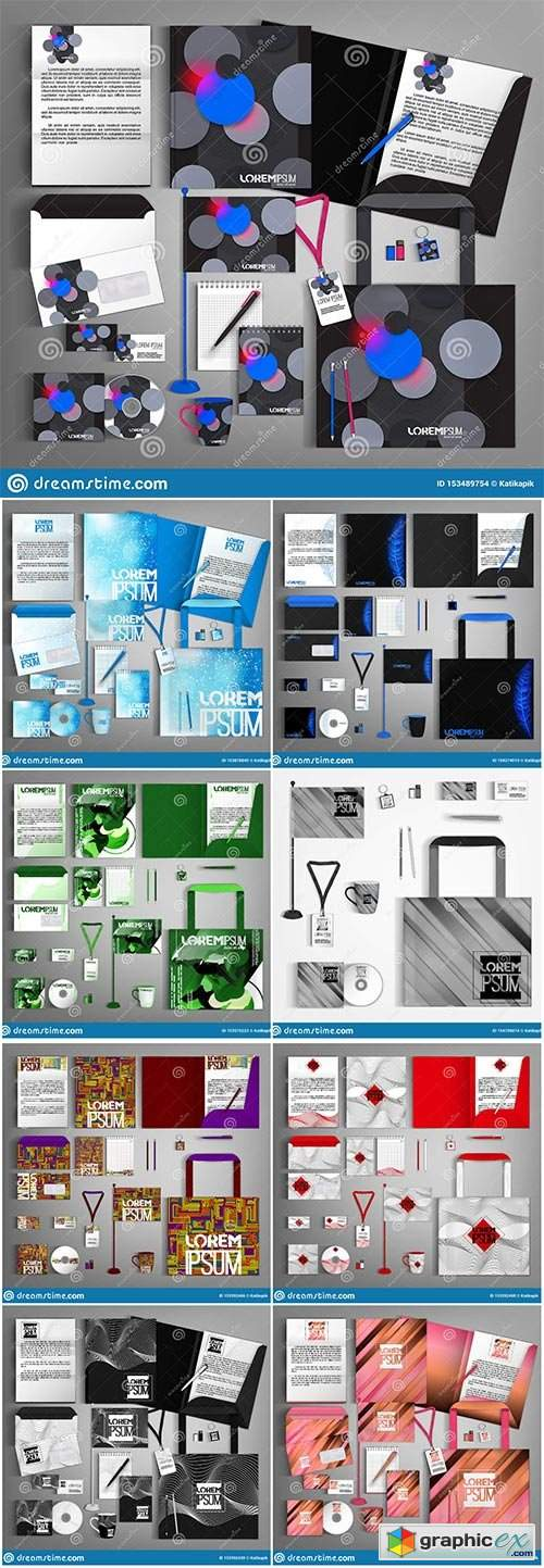 Corporate identity template with colorful design