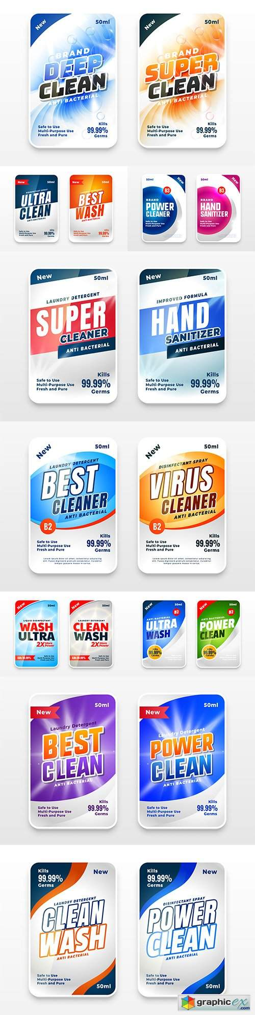Set of two labels for super cleaning and disinfectants